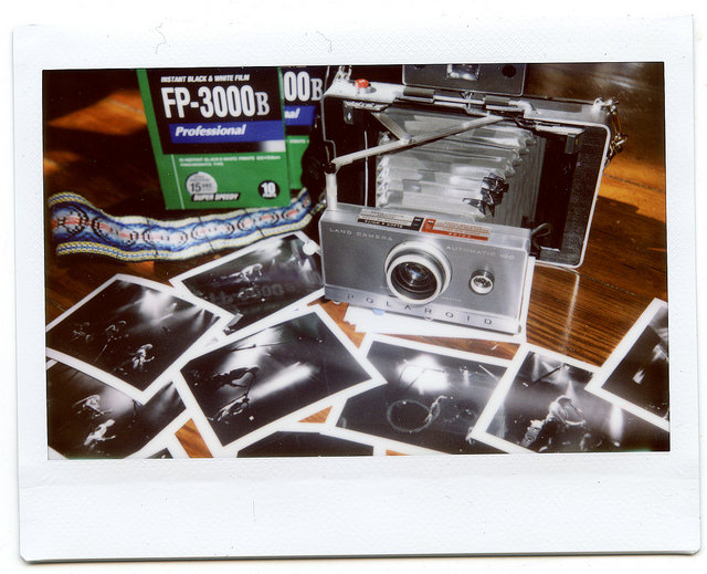 © 2015 Johnny Martyr   Fuji Instax Wide image of Polaroid Land 100 with Fuji FP-3000b and prints